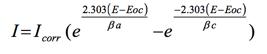 当只有简单的,受动力学控制的反应发生时,电极系统的电位与以下等式有关